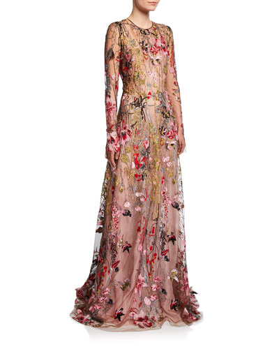 Long-Sleeve Flower Embroidered Gown