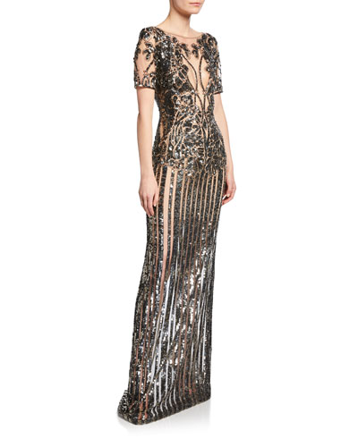 3/4-Sleeve Sequined Illusion Gown