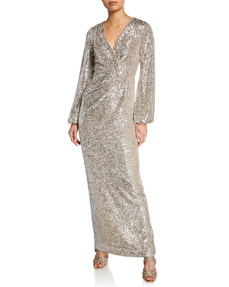 Long-Sleeve Sequined V-Neck Gown