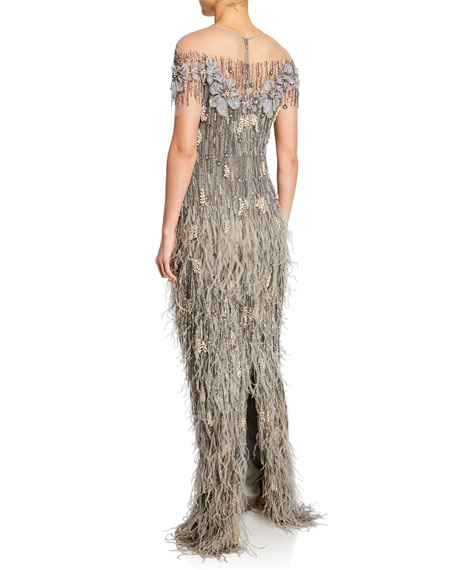 Feather-Skirt Sequined Illusion Gown