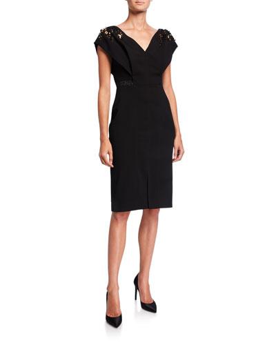 Open V-Neck Embroidered Shoulder Dress