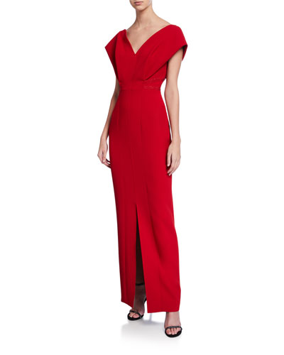 V-Neck Cap-Sleeve Gown