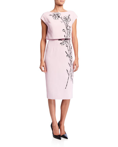 Flower-Embroidered Popover Cocktail Dress