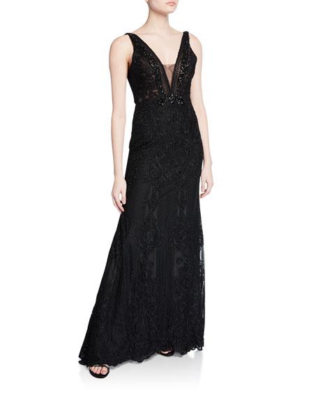 Depp-V Back Embroidered Gown