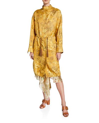 Brocade Tie-Waist Anorak Coat