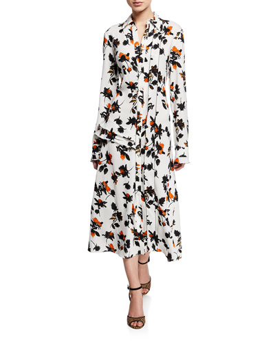 Floating Floral Long-Sleeve Dress