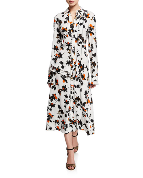 Floating Floral Long-Sleeve Dress