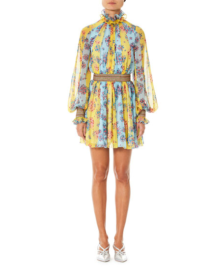 Image 1 of 1: Floral & Striped Smocked Chiffon Dress