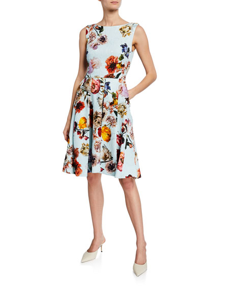 Image 1 of 1: Floral-Print Jacquard Cocktail Dress