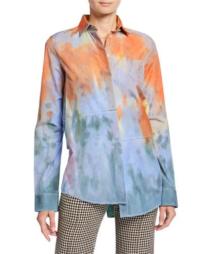 Asymmetric Tie-Dye Button-Front Shirt