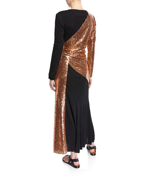 Tie-Neck Copper Sequined-Waist Dress