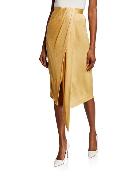 Image 1 of 1: Satin Twisted Wrap Skirt