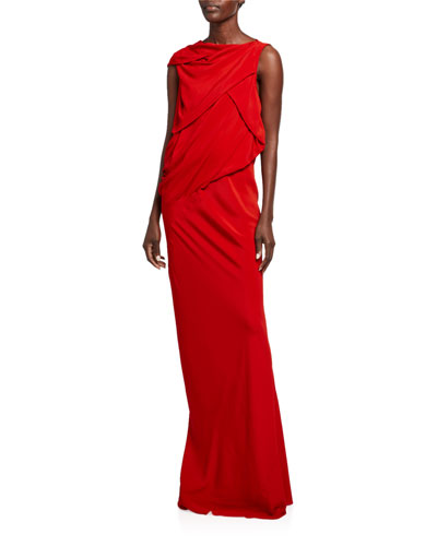Cady Draped-Top Column Gown