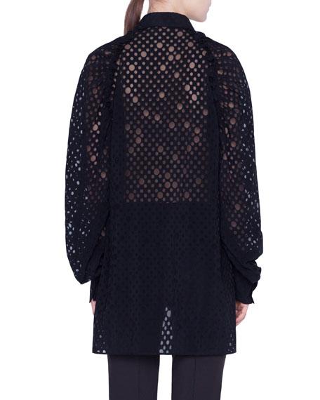 Kent-Collar Organza-Layered Jersey Blouse