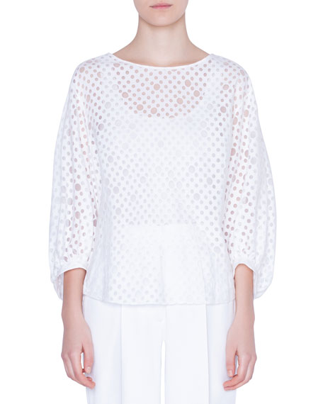 Bracelet-Sleeve Organza-Dotted Blouse