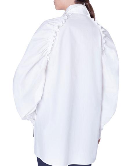 Poplin Kent-Collar Button-Front Blouse