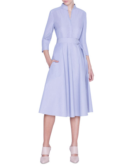Striped 3/4-Sleeve Belted Shirtdress