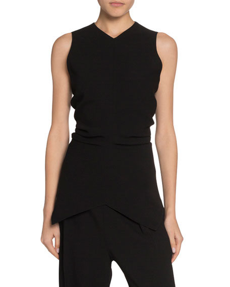 Sleeveless Ruched Textured-Knit Sweater