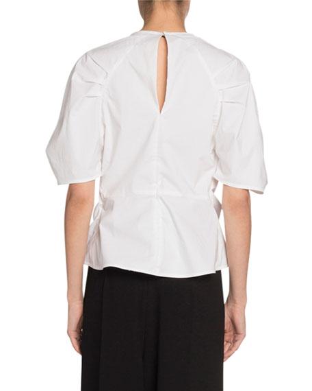 Short-Sleeve Crewneck Tie-Front Top
