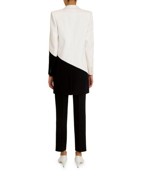 Asymmetric Bicolor Long Blazer