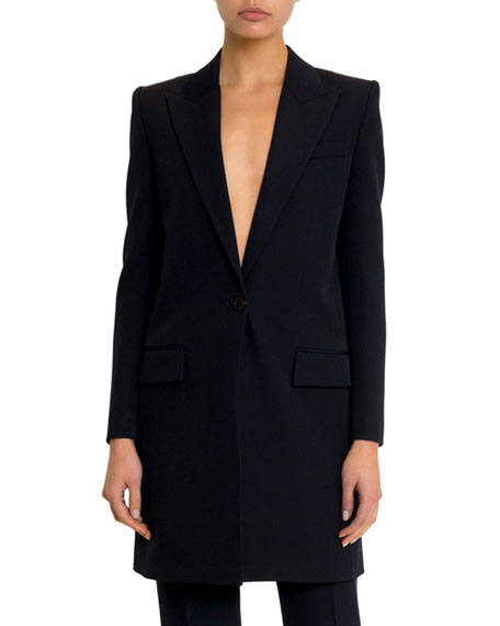 Long Wool One-Button Blazer