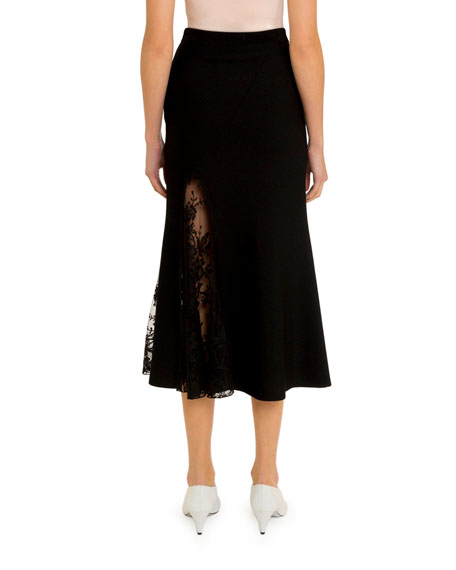 Lace-Inset Midi Skirt