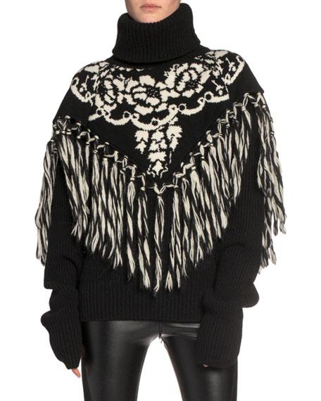 Floral Intarsia Fringe-Yoke Turtleneck Sweater