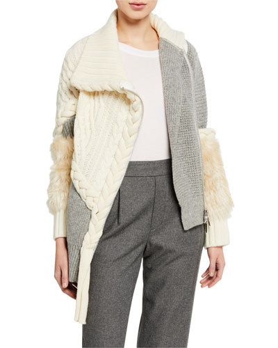 Mixed Cable & Braided Knit Sweater with Faux-Fur Trim