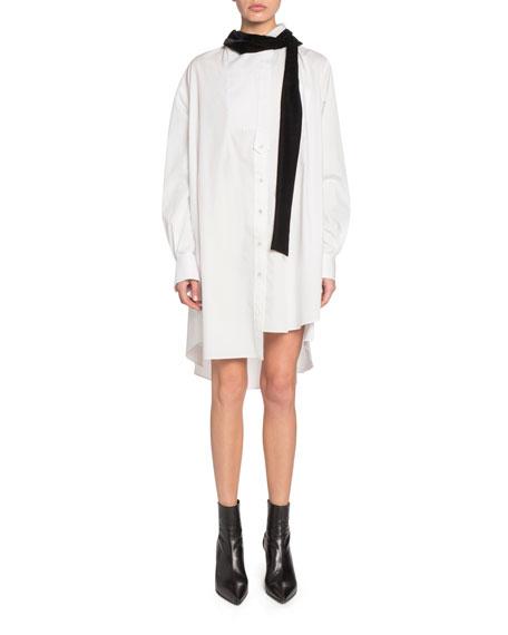 Velvet Tie-Neck Mini Shirtdress