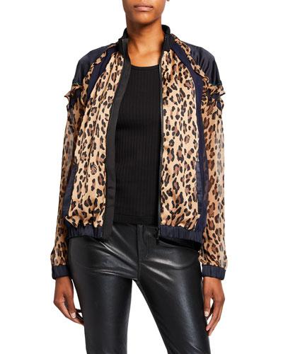 Leopard-Print Silk Ruffled Bomber Jacket