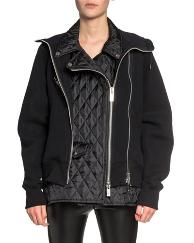 Moto-Style Quilted-Front Hoodie Sweatshirt