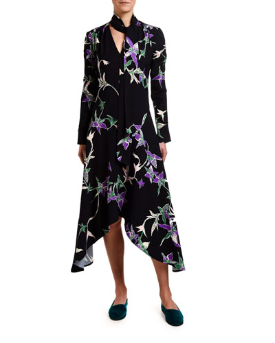 Orchid-Print Sable Tie-Neck Handkerchief Dress