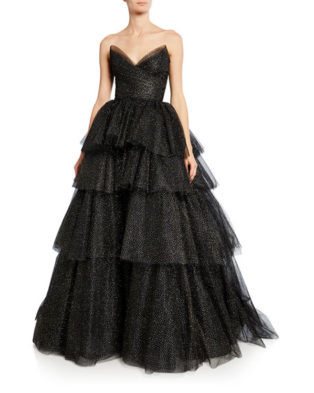 Glittered Tulle Strapless Gown