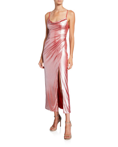 Metallic Jersey Slip Dress