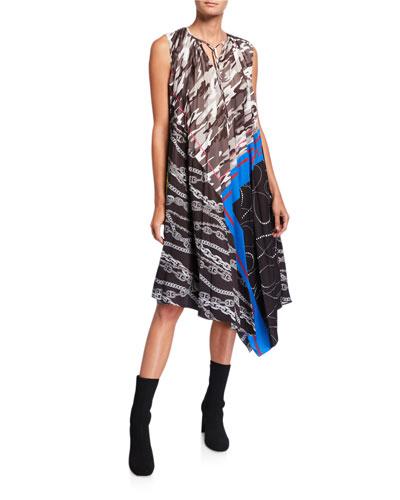 Patchwork Asymmetric Trapeze Crewneck Dress
