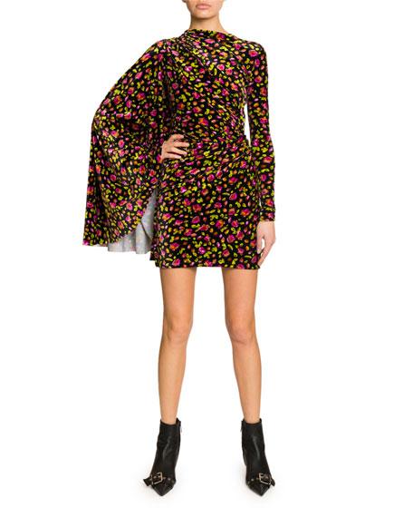 Floral Print Draped Side Velvet Dress