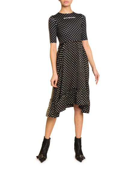 Polka-Dot Logo Graphic Midi Dress