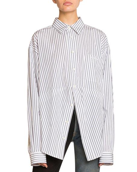 Pinstriped Cotton Boyfriend Shirt