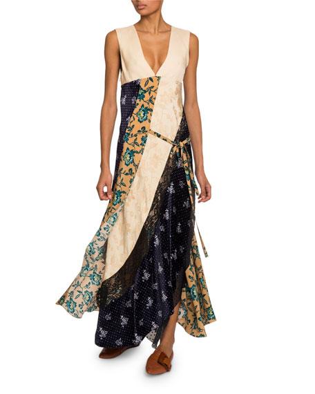 Floral Patchwork Crepe de Chine V-Neck Dress