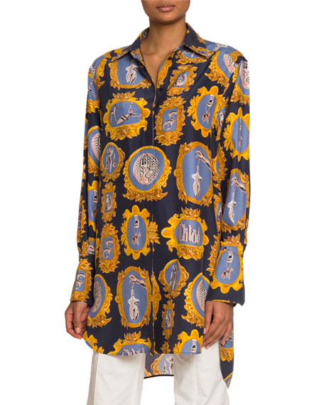 Image 1 of 1: Medallion-Print Silk Button-Front Shirt