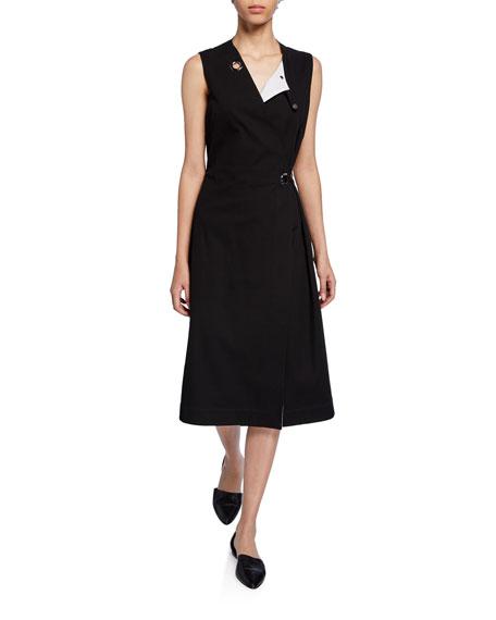 Grommet-Trim Wrap Dress