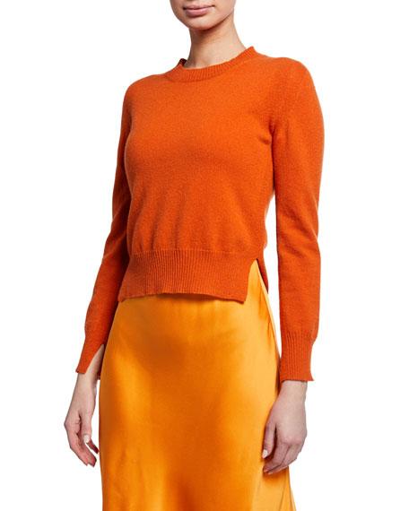 Cropped Wool-Cashmere Slit-Hem Sweater