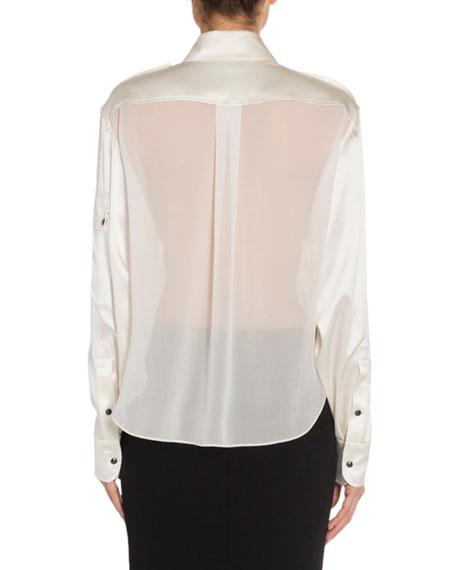 Silk Sheer-Back Oversized Blouse