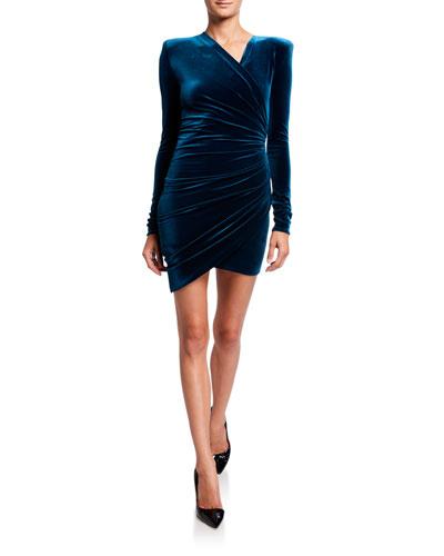 Velvet Deep-V Ruched Dress