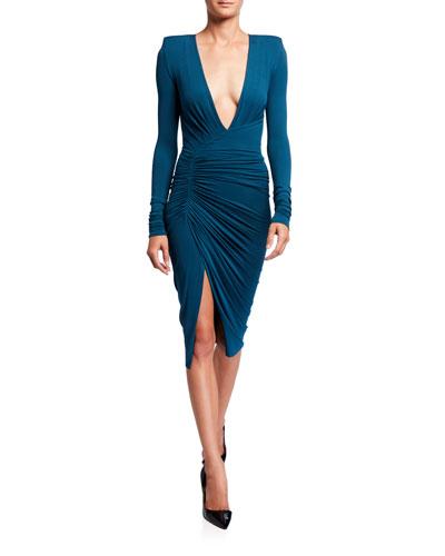 Jersey Deep-V Ruched Dress
