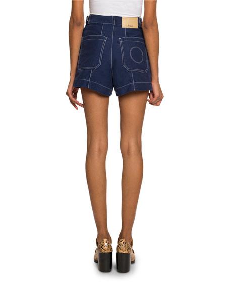 Topstitched Denim Shorts