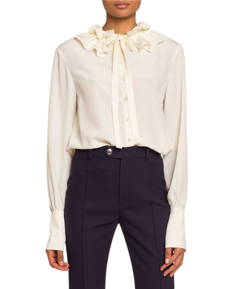 Image 1 of 1: Ruffled Silk Crepe de Chine Tie-Neck Top