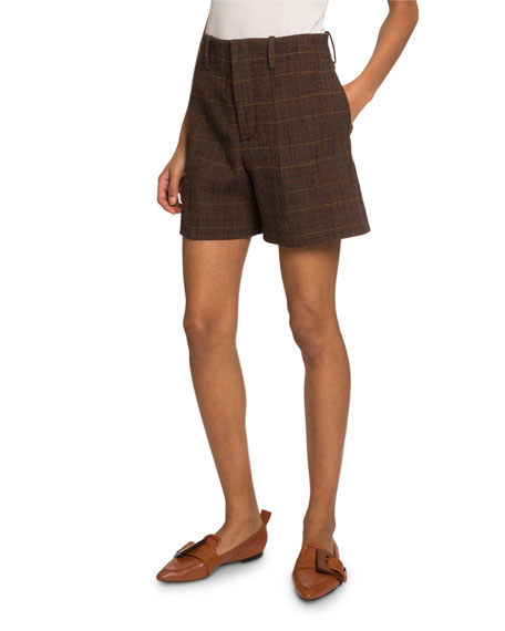 Checked Wool Shorts