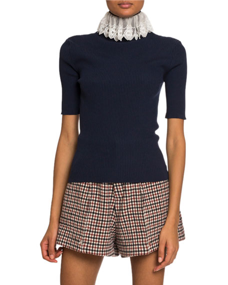 1/2-Sleeve Lace High-Neck Sweater