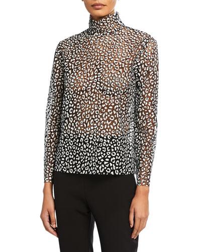 Leopard-Print High-Neck Top